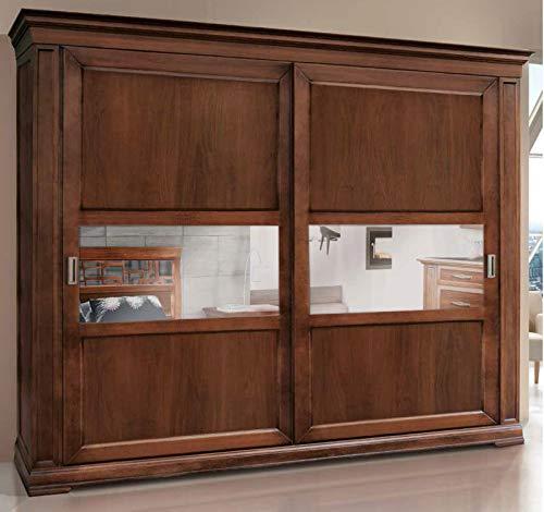 Dafne Italian Design Kleiderschrank mit 2 Schiebetüren aus Walnussholz, klassischer Stil (cm L.290 H.250 P.67) (TVG)