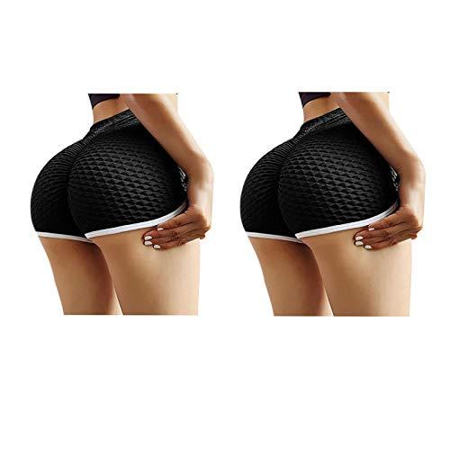 QAZW 2Pcs Leggings Cortos para Mujer Levantamiento de Glúteos Pantalones Cortos de Entrenamiento de Cintura Alta Pantalones de Yoga Scrunch Booty,Black-Xlarge