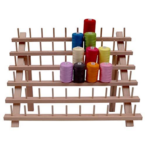Garnrollenhalter aus Holz - Faltbare Spulenhalter für 60 Spulen - Spule Ständer - Garnfäden Organisation, Personalisierter Näh Stickerei Quilt Rollenhalter, Nähwerkzeug und Basteln - 32cm x 40cm