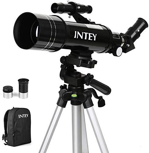 INTEY Télescope Astronomique Grosissement -67X et16X, Télescope de Réfraction avec Deux Oculaires(K6mm, K25mm), Trépied en Aluminium Réglable (50~120 cm), Sac à Dos Fourni, pour Débutants et Amateurs