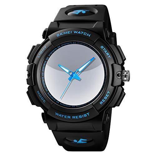 GLxlsbz Digitale Sportuhr Damen,Sport digitaluhr analog 50M wasserdichte Armbanduhr Militär mit Wecker, Laufen große Anzeige LED Digitaluhren für Herren, Blue