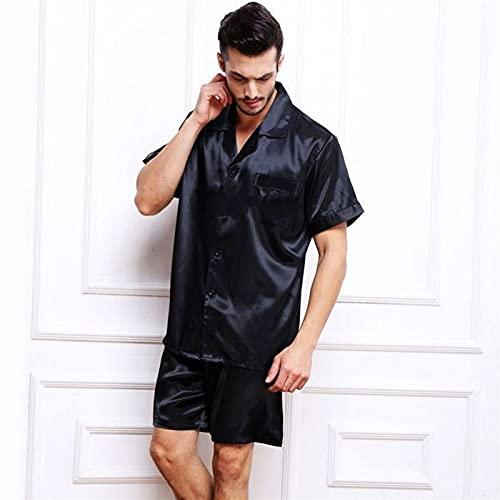 Pijamas de seda, seda para hombre pijamas de satén Set de manga corta y pantalones cortos Ropa de dormir clásica Loungewear (Color : Black, Size : X-Large)