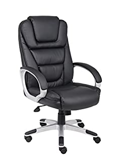 Boss Office Products High Back No Tools Required LeatherPlus Chair in Black (B00166DR9S) | Amazon price tracker / tracking, Amazon price history charts, Amazon price watches, Amazon price drop alerts