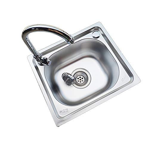 NBSY Fregadero Incorporado, Fregadero de Cocina de Acero Inoxidable, Lavabo Simple; (50 cm × 40 cm), 4 Tipos de especificaciones de Accesorios, 2 Tipos de métodos de instalación, Puede Elegir
