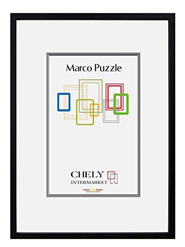 CHELY INTERMARKET, Marco de Puzzle (Mod-295) 50x70 cm Negro | Estilo galería | Marco de Madera para Decoración de Puzzles en salón de casa, Habitaciones, oficinas de Trabajo.(295-50x70-1,95)