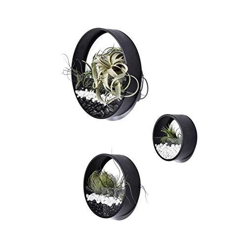 3 confezioni fioriera rotonda in metallo da appendere a parete, vaso da parete in metallo ferro arte appesa porta piante per decorazioni da interni, fioriera da parete retrò ornamento bonsai