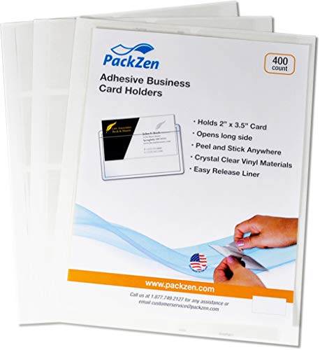 PackZen Clear Top Loading Adhesive Business Card Sleeve/Pocket (Long Side Open) - Box of 400 - Made in The USA