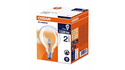Preisvergleich Produktbild Osram Classic Globe Halogen-Lampe,  E27-Sockel,  dimmbar,  77 Watt - Ersatz für 100 Watt,  Warmweiß - 2800K