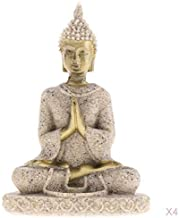 Fenteer 4 Pieces Stone Figure Sandstone Buddha Statue Sculpture Figure Decoration Figure Garden Figure