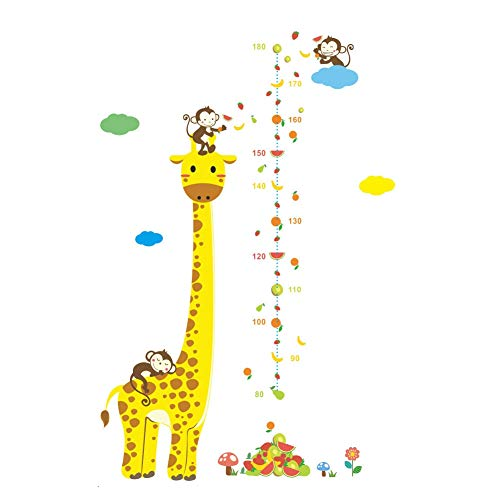 Yellow Ewer Monkey and Giraffe Growth Chart Wall Sticker Removable Cartoon Animal Wall Height Chart Decal for Measuring Children Height Growth Chart Ruler Decal for Kids Nursery Bedroom Living Room