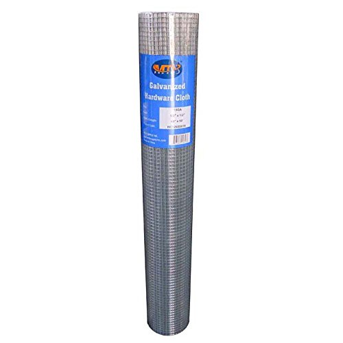 """MTB Galvanized Hardware Cloth 48 Inch x 50 Foot -1/2 Inch x 1/2 Inch 19GA (Also Sold in 25' Length,24""""/36"""" Width Available)"""