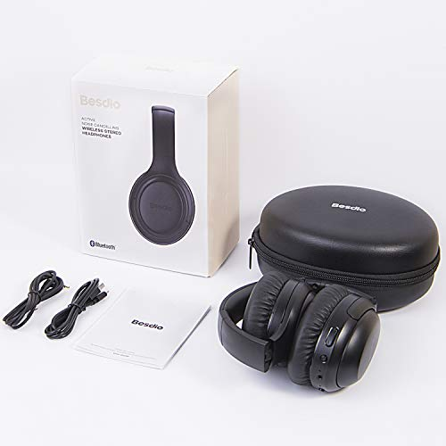 Active Noise Cancelling Headphones, [2019 Upgrade] BesDio ANC Bluetooth 5.0 Over Ear Headsets with Hi-Fi Deep Bass, Design for Air Travel (30 Hours Playtime, Quick Charge, CVC 6.0)