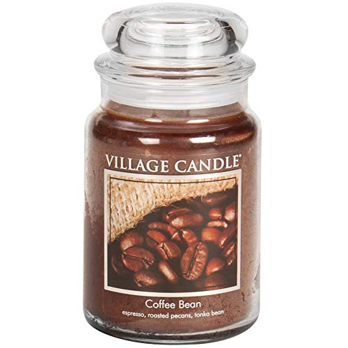 Village Candle Coffee Bean Glass Jar Scented Candle, Large, 21.25 oz, Brown, 21 Ounce