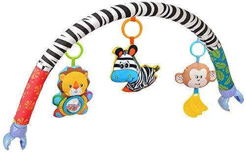 Baby-Kind-Kind-Spielzeug-weicher Plüsch-Spaziergänger Clip Bett Krippe Pram Hanging Tiere Zebra Löwe AFFE Arch Squeak/Rattle/Beißring (Sportkinderwagen Clip) Yjiangluochen