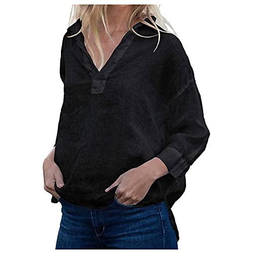 TYTUOO Las mujeres otoño invierno lino camisas manga larga jersey cuello en V suelto ajuste blusas camisas Tops sexy elegante sólido desgaste diario casual, A-negro, M