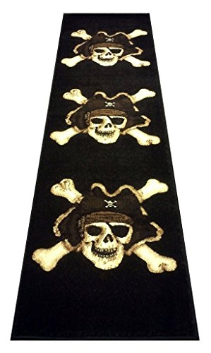 Champion Rugs Pirate Skull Area Rug Design #CR79 (2 Feet X 7 Feet Runner)