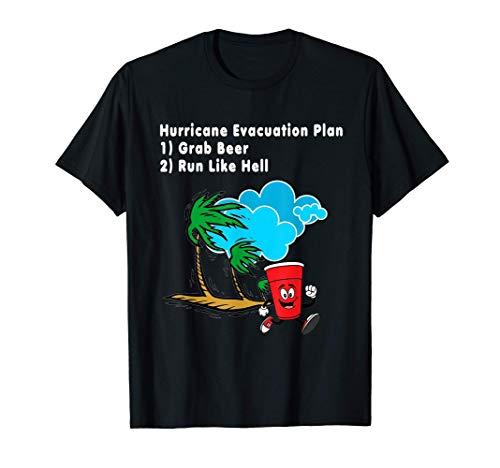 面白いハリケーン避難計画ビール飲酒シャツ Tシャツ