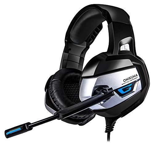 Auriculares para Juegos para PS4, PC, Mando Xbox One, Auriculares con cancelación de Ruido, con micrófono, Luces LED, Envolvente de Graves, Brazos de Memoria Suave