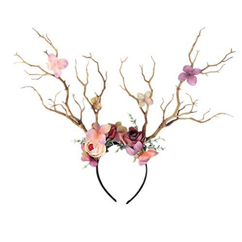 CHRONSTYLE Weihnachtsstirnband, Elchgeweih Haarreif Geweih Haarbänder,Weihnachten Hirschgeweih Stirnband Mädchen Frauen Cute Hair Hoop mit Blumen Headpiece Headware für Karneval Party