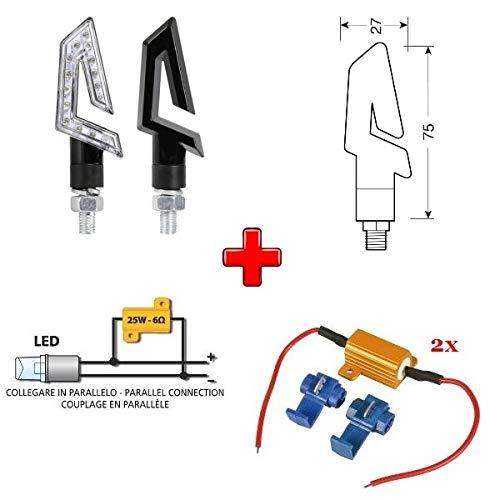 Compatible con Kawasaki KLX 300 R 1 PAR DE Indicadores LED 12V para Motocicletas + 2 RESISTENCIAS 6 Ohm 25W para INDICADOR Parpadeante Kit Aprobado