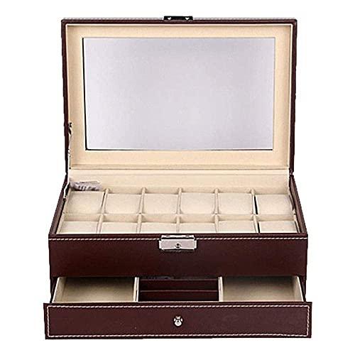 LGR Joyero Caja de Reloj Hombres Mujeres Regalo Viajes Cajas de joyería Doble marrón Ventana Abierta PU Flip Cuero Caja de Almacenamiento de 12 Posiciones 30.5 * 20 * 14Cm