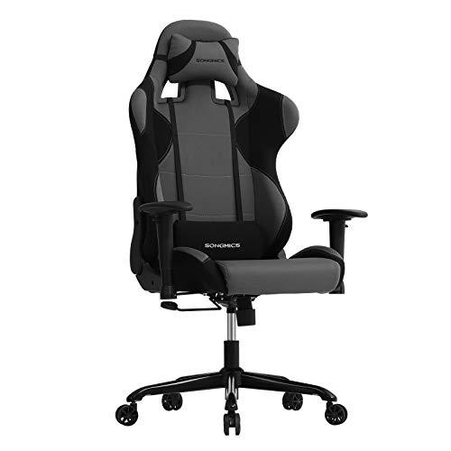 SONGMICS Bürostuhl Gaming Stuhl mit hoher Rückenlehne Formschaum gepolsterte Sitzschale verstellbare Kopfkissen und Lendenkissen für Soho- oder Büroarbeit Schwarz-Grau RCG02G