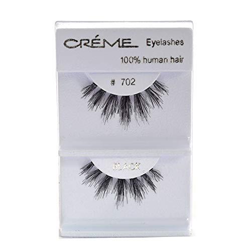 6 Pairs Crème 100% Human Hair Natural False Eyelash Extensions #702 ,Free Gift