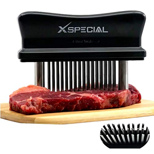 Black 48 Blade Meat Tenderizer Tool > TRY IT NOW, Taste The Tenderness or REFUNDED! Kitchen Accesories Tenderizers Stainless Steel Needle. Best Gadget For Tenderizing, BBQ, Marinade & Flavor Maximizer