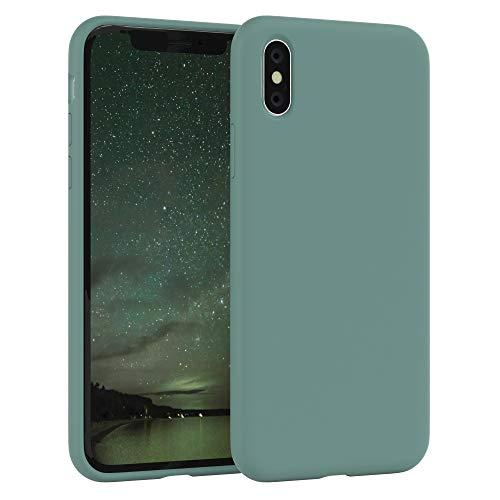 EAZY CASE Premium Silikon Handyhülle kompatibel mit iPhone XS Max, Slimcover mit Kameraschutz und Innenfutter, Silikonhülle, Schutzhülle, Bumper, Handy Case, Hülle, Softcase, Grün