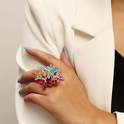 LIUL Bijoux Fantaisie Bague Papillon en Cristal incrusté de Luxe Bague de fête d'anniversaire Brillante pour Les Femmes