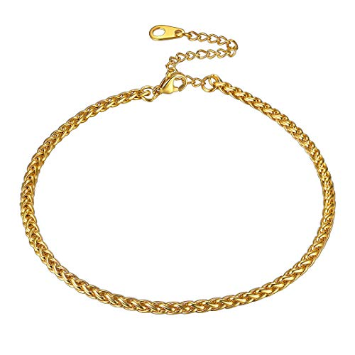 ChainsHouse Color Oro Tobilleras de Verano Mujeres Spiga Tobillera 23cm para Novia