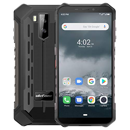 "Ulefone Armor X3 Móvil Libre, Resistente IP68 Impermeable Smartphone de 5.5"" (18:9) HD+ Android 9 Dual SIM, 2GB+32GB, Doble Cámara de 8MP + 2MP y 5MP,5000mAh Batería Face ID+GPS/Wi-Fi/Bluetooth(Negro)"