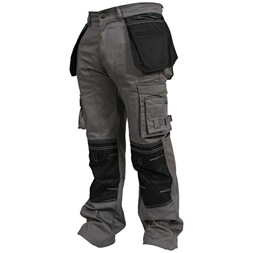newfacelook newfacelook Herren Arbeitshose Cargohose Hose Knie Taschen Sicherheits, 38W / 30L, Grau