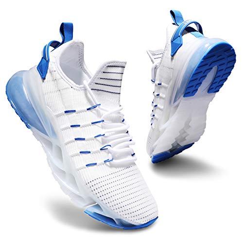 Deevike Schuhe Damen Laufschuhe Wanderschuhe Sneaker Sportschuhe Luftpolster Turnschuhe Walkingschuhe Weiß Blau-39
