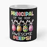 Taza de café de cerámica con texto en inglés 'Easter Most Bunny Awesome Principal Peeps Eat Food Bite John Best 11 oz'