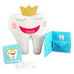 Image: Tooth Fairy Pillow Kit With Notepad And Keepsake Pouch | Includes Pillow With Pocket, Dear Tooth Fairy Notepad | Keepsake Wallet Pouch Holds Teeth, Notes, And Photograph