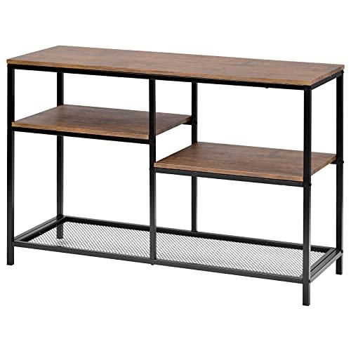 ADFBL Mesa consola de sofá con estantes de almacenamiento, mesa de entrada industrial de 4 niveles para sala de estar, entrada, pasillo, mesa de acento de aspecto de madera, fácil montaje