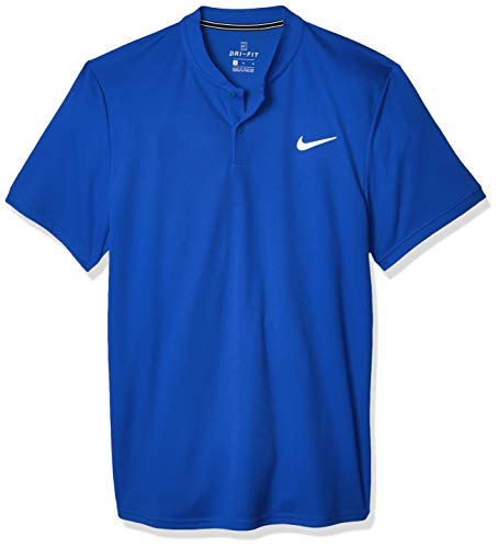 Nike Herren Nikecourt Dri-Fit Polohemd, Blau - Weiß, S