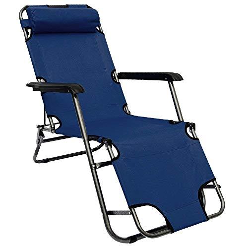 AMANKA Folding Sun Lounger Foldable Deck Chair Reclining Garden Chair 153 cm + leg rest reclining back + headrest Dark Blue