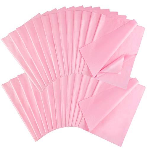 HOWAF 50 Blatt Seidenpapier,metallisches Geschenkpapier,rosa geschenkpapie,Rose Rosa,für Geburtstag, Hochzeit,Weihnachten,DIY, 50 x 35 cm