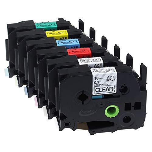 Anycolor kompatible Schriftband als Ersatz für BrotherTZe-141 TZe-241 TZe-441 TZe-541 TZe-641 TZe-741schwarz auf transparent/weiß/rot/blau/gelb/grün Etikettenband18 mm x 8m, 6er-Pack