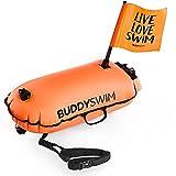 BUDDYSWIM Boya de Seguridad para Natación en Aguas Abiertas con Bandera Extraíble para Visibilidad Extra - DryBag con Compartimento Interior Estanco Ligera y Resistente Acabado de Nylon - Naranja