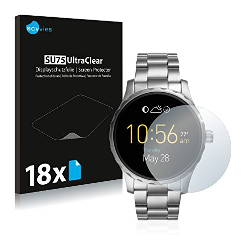 Savvies 18x Schutzfolie kompatibel mit Fossil Q Marshal / (2.Gen) Bildschirmschutz-Folie Ultra-transparent