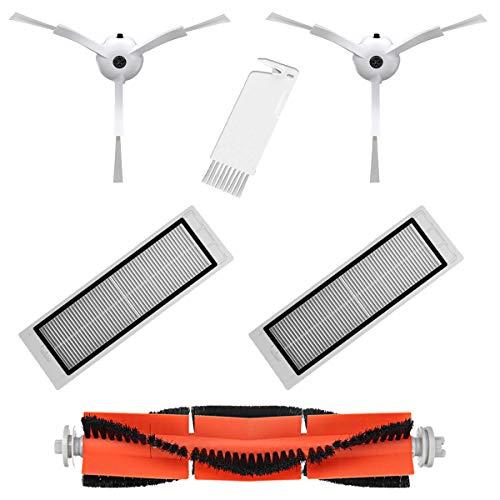 MIRTUX Pack Esencial de recambios para Xiaomi Mi Robot Vacuum 1 y 2. Kit de Accesorios de Repuesto para Robots Aspirador Xiaomi Roborock S50 S51 Conjunto de 1 Rodillo,  2 cepillos Laterales,  2 filtros