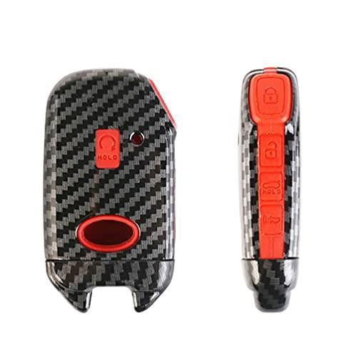 RFGOO Cubierta de Llavero con Textura de Fibra de Carbono con Llavero Llavero Smart Remote Key Case Chaqueta Shell Skin Protección Completa Compatible con Kia Blue Red Red