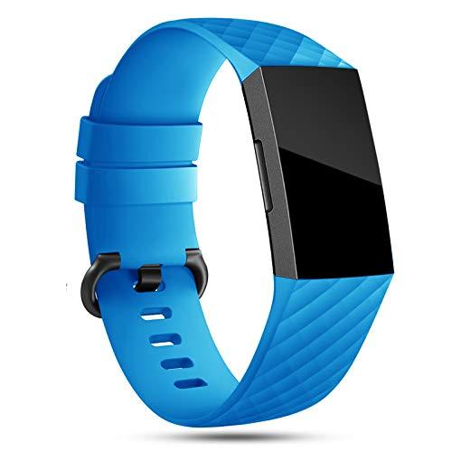 Onedream Compatibile per Fitbit Charge 3 Cinturini/Charge 4 Cinturino Donna Uomo Azzurro Sport Silicone Bracciale Accessori,L