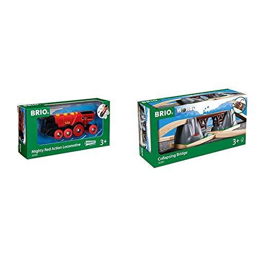 BRIO-33592 Gran Locomotora a Pilas con luz y Sonido, Color Negro, Rojo (RAVENSBURGER 33592) + Juego Primera Edad (33391)