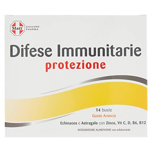 Matt - Integratore Difese Immunitarie - Integratore per Difese Immunitarie in Bustine Gusto Arancia - Con Echinacea, Astragalo, Zinco, Vitamina C, Vitamina D, Vitamine B12 e B6-14 Bustine (35 g)