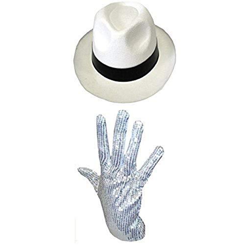 0112PDNNJAG ILOVEFANCYDRESS Chapeau Blanc à Bande Noir du Roi de la Pop avec Son Gant Blanc à Paillettes.