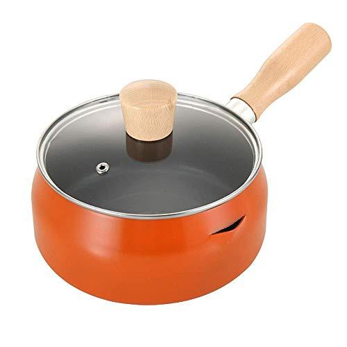Milch Pan Edelstahl-Butter-Wärmer Pan mit Dual-Ausgießer for Boiling Milch Sauce Soßen Pasta Nudeln (Farbe: Orange, Größe: 18cm) ZHW345 (Color : Orange, Size : 18CM)